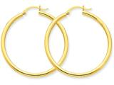 14k Polished 2.5mm Round Hoop Earrings style: T925