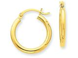 14k Polished 2.5mm Round Hoop Earrings style: T931