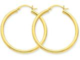 14k Polished 2.5mm Round Hoop Earrings style: T934