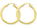 14k Polished 3mm Round Hoop Earrings style: T935