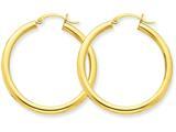14k Polished 3mm Round Hoop Earrings style: T935