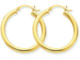 14k Polished 3mm Round Hoop Earrings style: T936