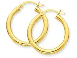 14k Polished 3mm Round Hoop Earrings style: T937