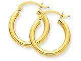 14k Polished 3mm Round Hoop Earrings style: T938