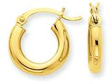 14k Polished 3mm Round Hoop Earrings style: T940