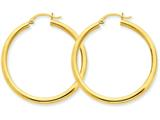 14k Polished 3mm Round Hoop Earrings style: T941