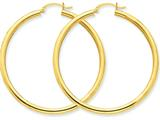 14k Polished 3mm Round Hoop Earrings style: T943