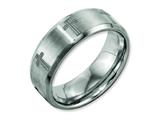 Chisel Titanium Beveled Edge 8mm Laser Design Brushed and Polished Weeding Band style: TB115D