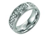 Chisel Titanium Ridged Edge 8mm Laser Design Brushed and Polished Weeding Band style: TB11B