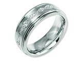 Chisel Titanium Ridged Edge 8mm Laser Design Brushed and Polished Weeding Band style: TB11C