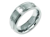 Chisel Titanium Ridged Edge 8mm Laser Design Brushed and Polished Weeding Band style: TB11D