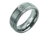 Chisel Titanium Ridged Edge 8mm Laser Design Brushed and Polished Weeding Band style: TB11M