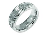 Chisel Titanium Ridged Edge 8mm Laser Design Brushed and Polished Weeding Band style: TB11N