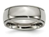 Chisel Titanium Grooved And Beaded Edge 8mm Polished Weeding Band style: TB133