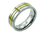 Chisel Titanium Yellow Ip-plated Grooved 7mm Polished Weeding Band style: TB176