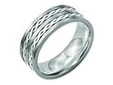 Chisel Titanium Sterling Silver Braided Inlay 8mm Brushed And Antiqued Weeding Band style: TB216