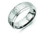 Chisel Titanium 8mm Beveled Edge Hammered And Polished Weeding Band style: TB236