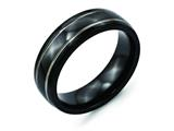 Chisel Titanium Black Ti Two-tone Grooved 7mm Polished Weeding Band style: TB282