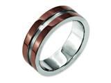 Chisel Titanium Grooved 8mm Brown Ip-plated Polished W/brushed Center Weeding Band style: TB304