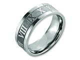 Chisel Titanium Roman Numerals 8mm Satin and Polished Flat Weeding Band style: TB346