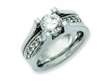 Chisel Titanium and Sterling Silver CZ Ring style: TB376