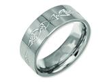 Chisel Titanium Flat 8mm Laser Design Polished Weeding Band style: TB3C