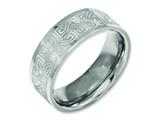 Chisel Titanium Flat 8mm Laser Design Polished Weeding Band style: TB3E