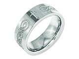 Chisel Titanium Flat 8mm Laser Design Polished Weeding Band style: TB3P
