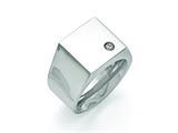 Chisel Titanuim Polished CZ Signet Ring style: TB426