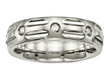 Chisel Titanium Polished Grooved CZ Ring style: TB447