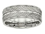 Chisel Titanium Polished Grooved Ring style: TB449