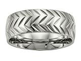 Chisel Titanium Polished Diamond Cut Ring style: TB455