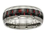 Chisel Titanium Polished Black/red Carbon Fiber Inlay Ring style: TB466