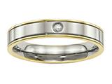Chisel Titanium Polished Yellow Ip Grooved Comfort Back CZ Ring style: TB472