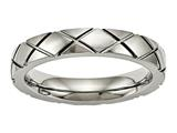 Chisel Titanium Polished Criss Cross Grooved Ring style: TB484