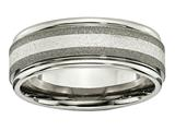 Chisel Titanium Polished /stone Finish Center Grooved Edge Sterling Inlay Weeding Band style: TB83