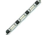 Chisel Titanium Carbon Fiber with 14k Overlay Accent Bracelet - 8.75 inches