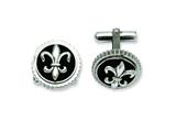 Chisel Titanium with Black Enamel Fleur De Lis Cuff Links style: TBC110