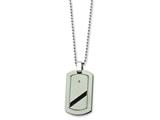 Chisel Titanium with Black Cable Diamond Dog Tag Necklace - 24 inches
