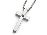 Chisel Titanium Polished 1/2pt. Diamond Cross Necklace style: TBN15622