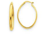 14k Polished 3.5mm Oval Hoop Earrings style: TC189
