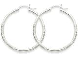 14k White Gold Satin and Diamond-cut 2mm Round Hoop Earrings style: TC195