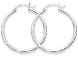 14k White Gold Satin and Diamond-cut 2mm Round Hoop Earrings style: TC196