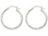 14k White Gold Satin and Diamond-cut 2mm Round Hoop Earrings style: TC197
