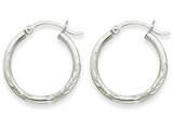 14k White Gold Satin and Bright-cut 2mm Round Hoop Earrings style: TC198