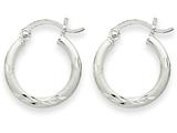 14k White Gold Satin and Bright-cut 2mm Round Hoop Earrings style: TC199