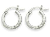 14k White Gold Satin and Diamond-cut 2mm Round Hoop Earrings style: TC200