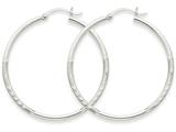 14k White Gold Satin and Diamond-cut 2mm Round Hoop Earrings style: TC201
