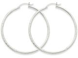 14k White Gold Satin and Diamond-cut 2mm Round Hoop Earrings style: TC202