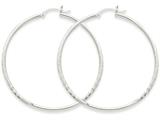 14k White Gold Satin and Diamond-cut 2mm Round Hoop Earrings style: TC203